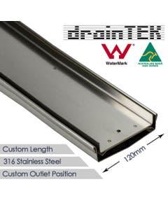 120mm wide stainless steel tile insert custom lengths shower grate
