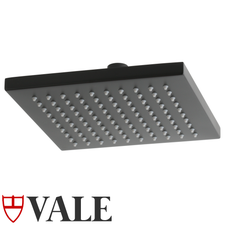 Vale Matte Black Square rain shower head - 200mm square