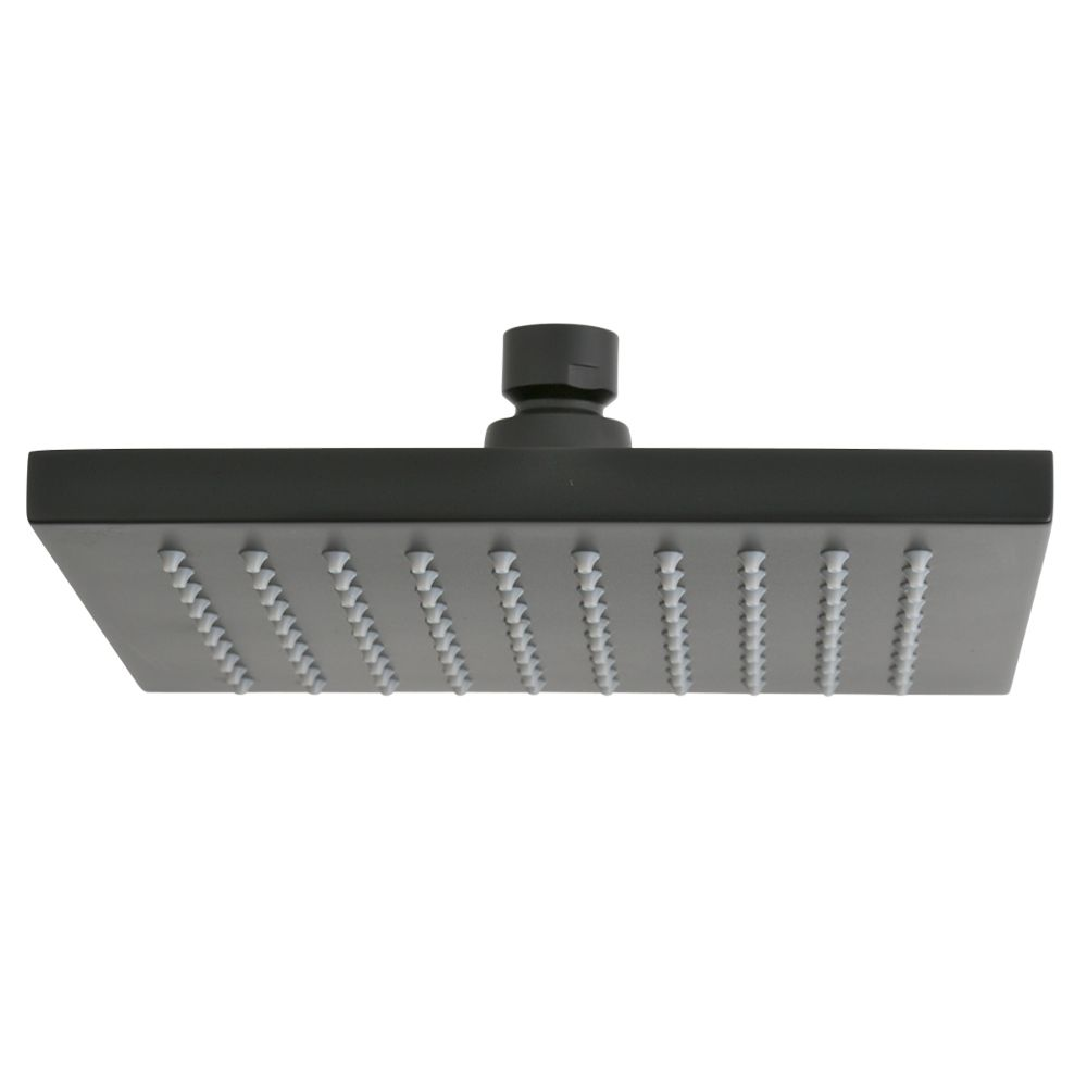 this large square rain shower head measuring 200mm in width providing an indulgent rainfall of warm water square and black the vale rain shower head is