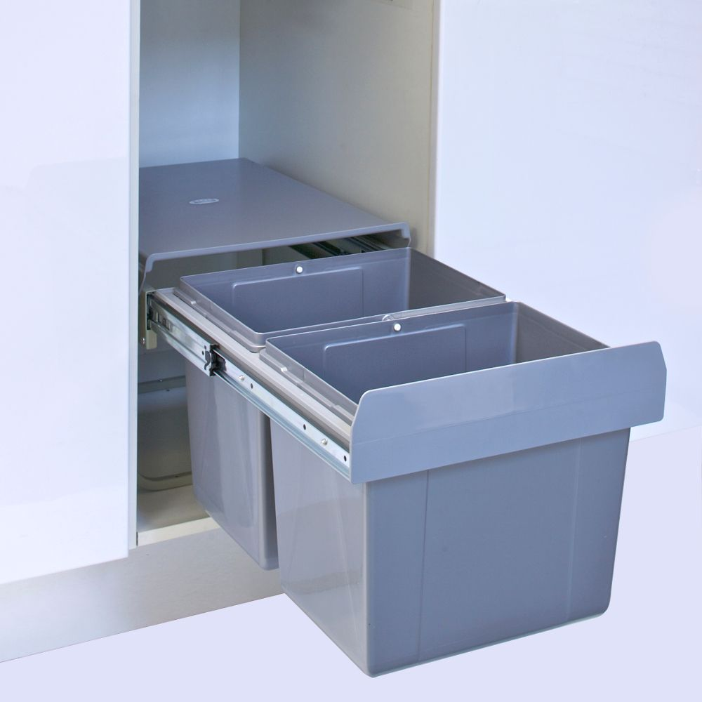 30l Pull Out Kitchen Waste Bin Twin Slide Out Rubbish