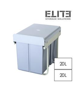 Elite 40L Twin Slide Out Concealed Waste Bin - for a 400mm Cupboard