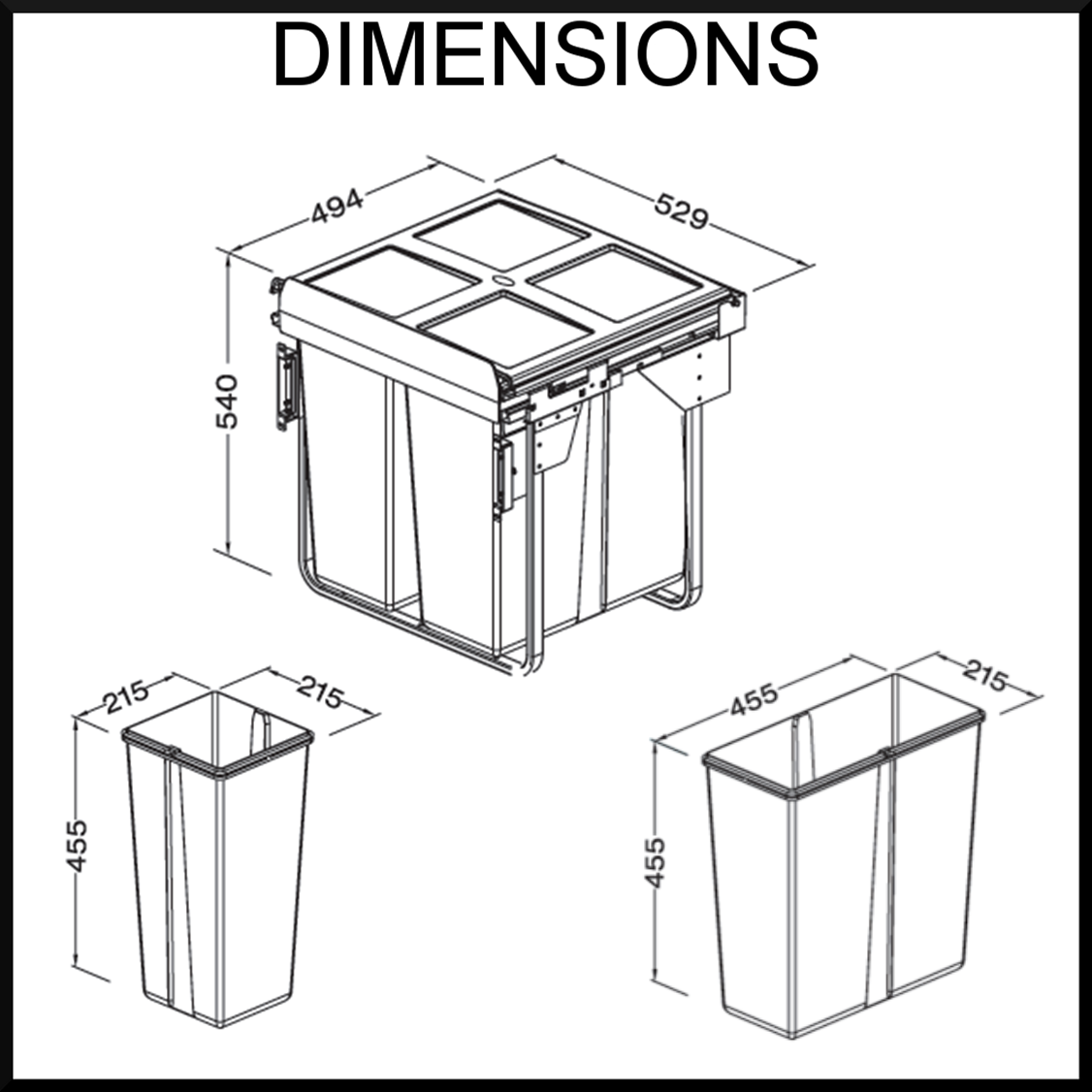 Kitchen Waste Bin Door Mounted New 68l Triple Pull Out Kitchen Waste Bin Suits A 600mm Cupboard