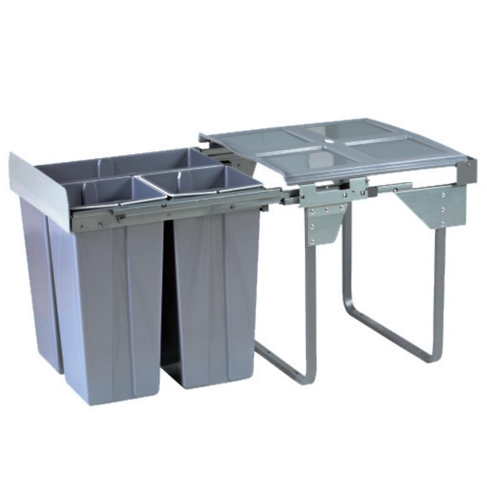 Domestique 68L Triple Slide Out Concealed Waste Bin - 600mm