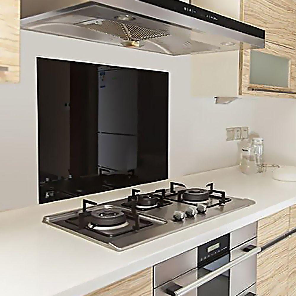 Toughened 60cm x 75cm Black Glass Kitchen Splashback