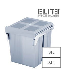 Elite Twin Pull Out Concealed Waste Bin Side-Mounted 2x31L - 450mm Cabinet