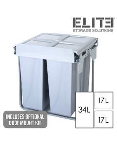 Elite Triple Concealed Waste Bin - 68L Capacity - Integrated Door Mount - Fits 600mm Cabinet