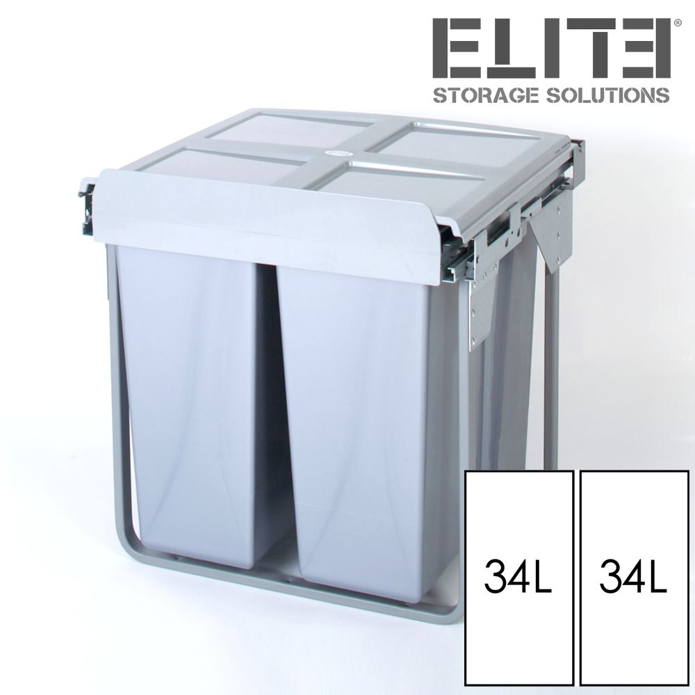 68l Twin Pull Out Kitchen Waste Bin Slide Out Rubbish