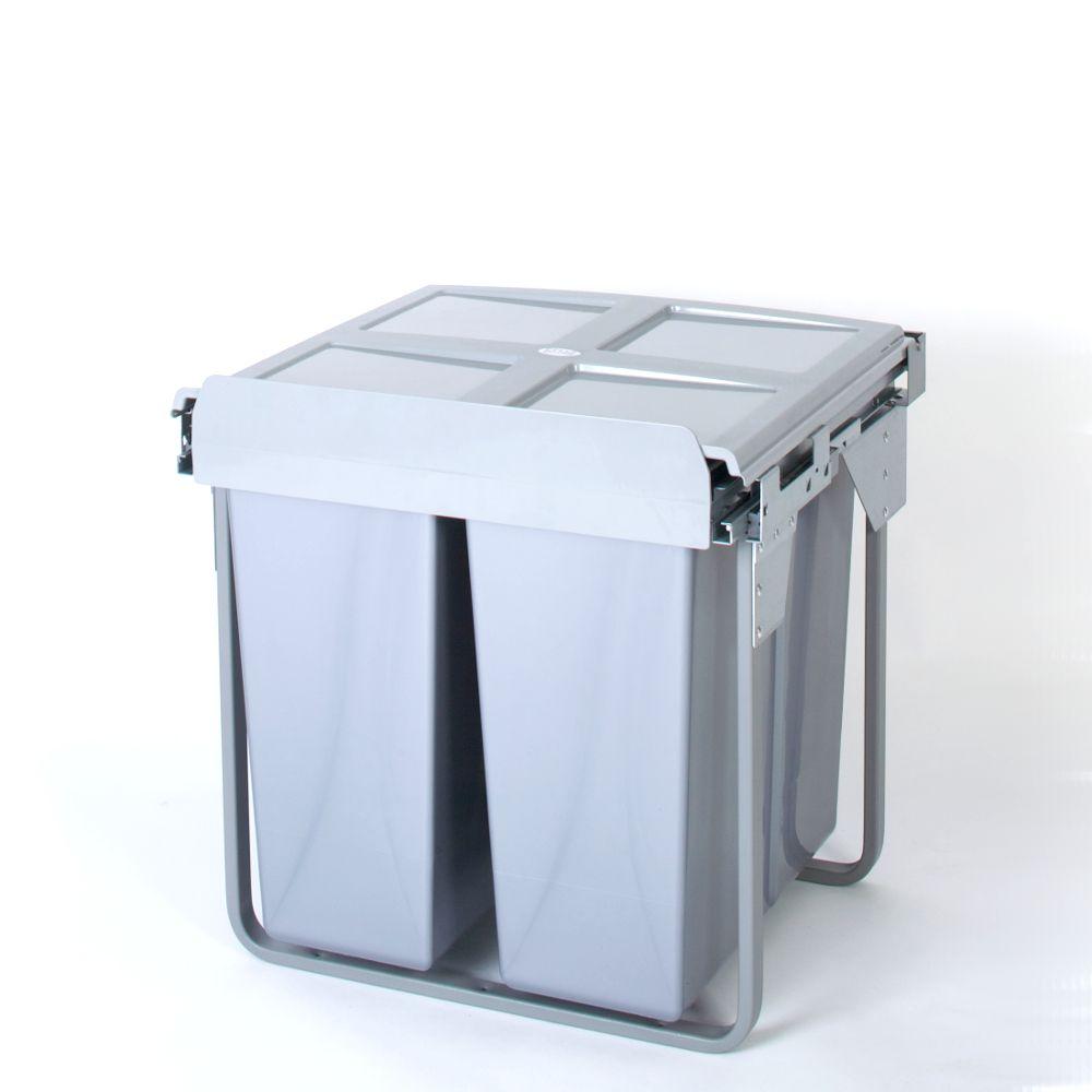 Domestique 68L Twin Slide Out Concealed Waste Bin - 600mm
