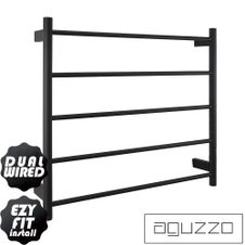 EZY FIT Heated Towel Rail - Round Tube - Dual Wired - (W750mm x H700mm) - Matte Black