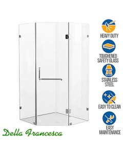 spacious corner glass shower enclosure