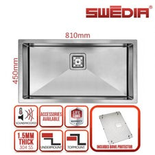 810mm extra large bowl kitchen sink premium stainless steel