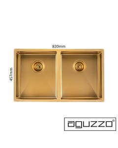 brushed gold double kitchen sink