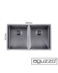 double bowl 820mm grey kitchen sink