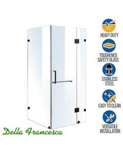 900mm wide compact corner glass shower enclosure black hardware