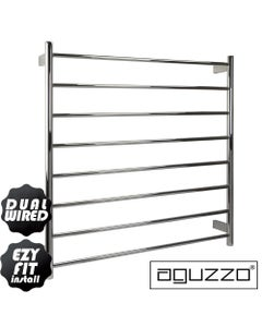 EZY FIT Heated Towel Rail - Round Tube - Dual Wired - (W900mm x H920mm) - Brushed Nickel