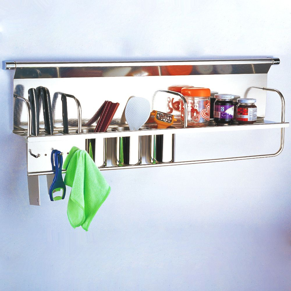 Kitchen Utensil Wall Storage On Kitchen Storage Racks, Kitchen Silver Kitchen  Wall Storage System ...
