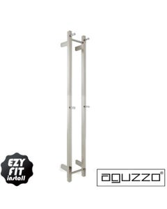 EZY FIT Heated Towel Rail - Double Vertical Square Tube - (200mm x H1400mm) - Brushed Nickel