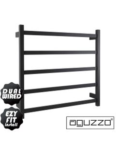 EZY FIT Heated Towel Rail - Square Tube - Dual Wired - (W750mm x H700mm) - Matte Black