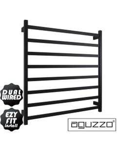 EZY FIT Heated Towel Rail - Square Tube - Dual Wired - (W900mm x H920mm) - Matte Black