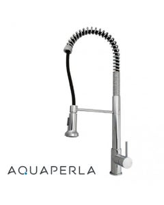 Spring Chrome Pull Out Kitchen Sink Mixer Tap Tall facing left