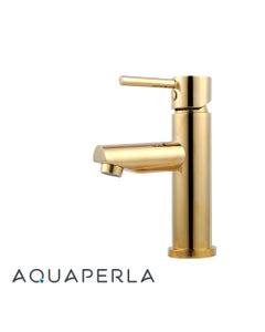 AquaPerla Echo Round Yellow Gold Basin Mixer perspective side bottom facing left
