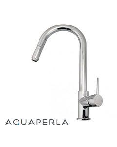 aquaperla Round Chrome Pull Out Kitchen Sink Mixer Tap