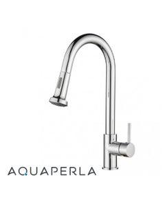 Aquaperla Round Chrome Pull Out Spray Kitchen Sink Mixer Tap