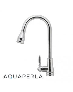Round Chrome Vintage Pull Out Kitchen Sink Mixer Tap facing left