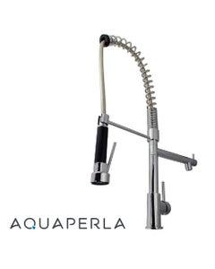 aquaperla spring chrome double spout kitchen mixer pull out