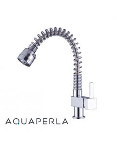 Spring Chrome Pull Out Spray Kitchen Sink Mixer Tap facing right