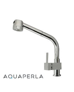 aquaperla square chrome kitchen mixer with pull out