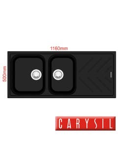 carysil beethoven black granite kitchen sink two bowls with drainer