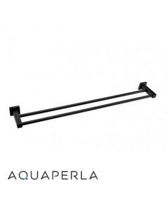 matte black-finished double towel rail