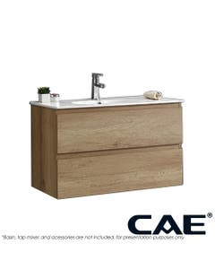 CAE Edge Wall Hung Vanity marble top and two wooden drawer shelves