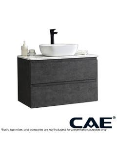 CAE Edge Wall Hung Vanity marble top and two drawer shelves