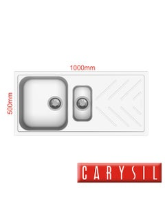 carysil beethoven white granite kitchen sink two bowls with drainer