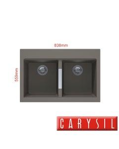carysil twin bowl granite kitchen sink concrete grey finish