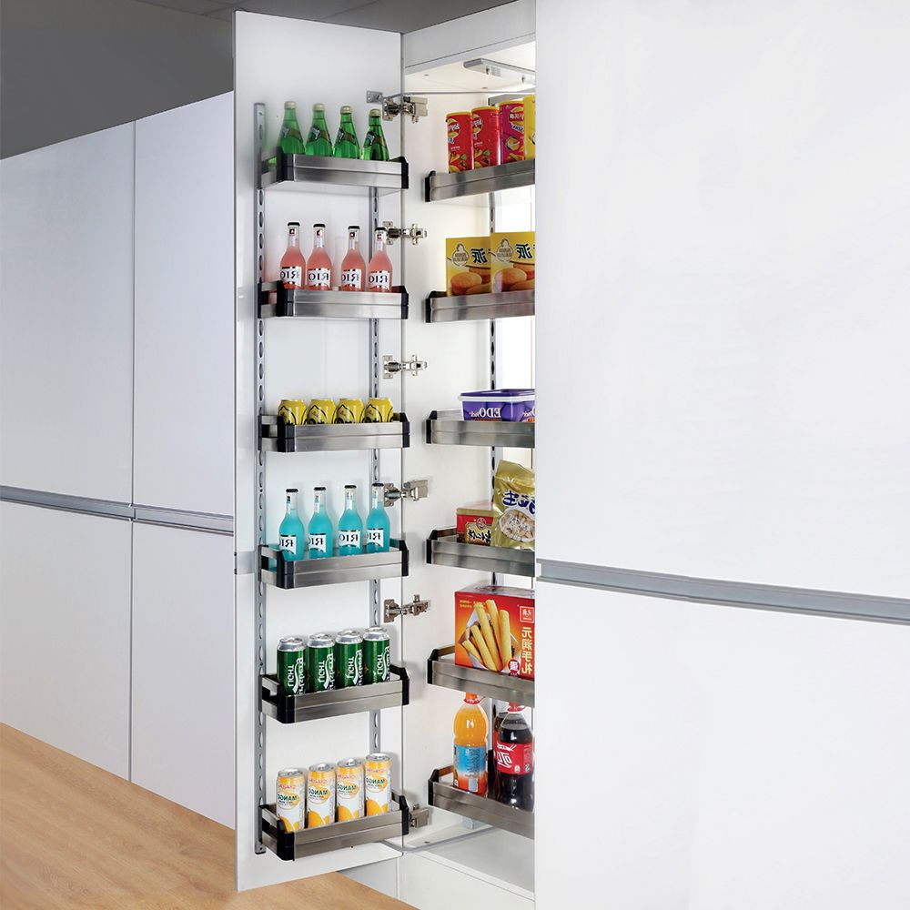Open Out Kitchen Pantry Internal Unit Adjustable Height Suits 450 Or 600 Cabinet
