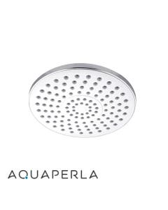 compact 200mm round chrome rain shower head with swivel ball joint