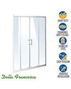 double door shower screen with stainless steel hardware