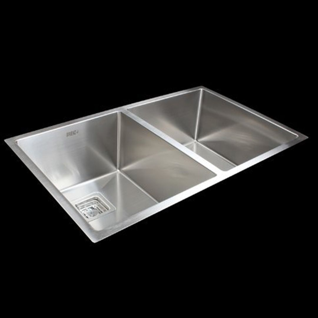 Handmade 1.5mm Stainless Steel Kitchen Sink with Square Waste - 835x505mm