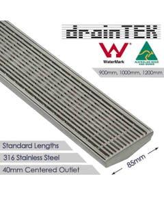 drainTEK Wedge Wire Shower Grate - 316 Stainless Steel - 85mm width Standard Length