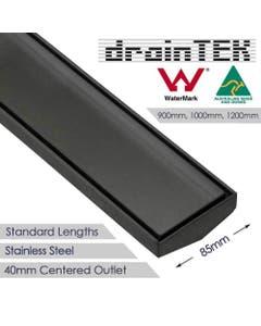 drainTEK Tile Insert Shower Grate - Stainless Steel - 85mm width Standard Length - Gunmetal Grey