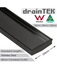 drainTEK Tile Insert Shower Grate - Stainless Steel - 120mm width Standard Length - Gunmetal Grey