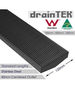 drainTEK Wedge Wire Shower Grate - 316 Stainless Steel - 120mm width Standard Length - Gunmetal Grey