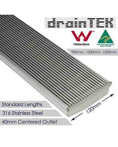 drainTEK Wedge Wire Shower Grate - 316 Stainless Steel - 120mm width Standard Length