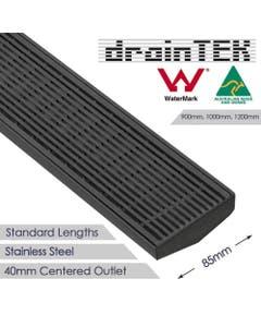 drainTEK Wedge Wire Shower Grate - 316 Stainless Steel - 85mm width Standard Length - Gunmetal Grey