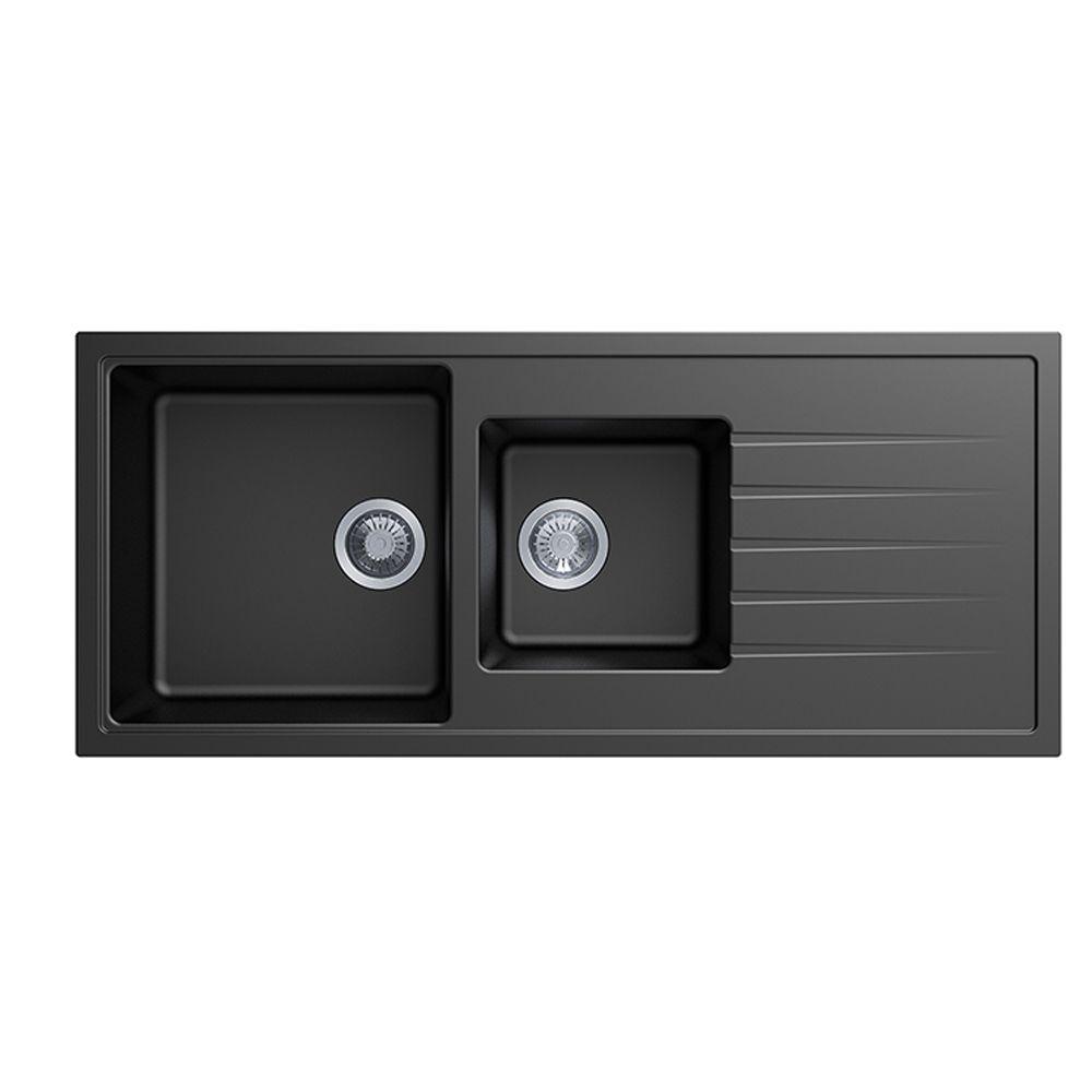 Carysil Vivaldi D200 Granite Kitchen Sink - 1160 x 500mm 1+1/2 Bowl with Reversible Drainer