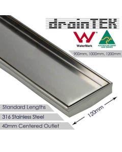 Tile Insert Shower Grate - 316 Stainless Steel - 120mm width Standard Length