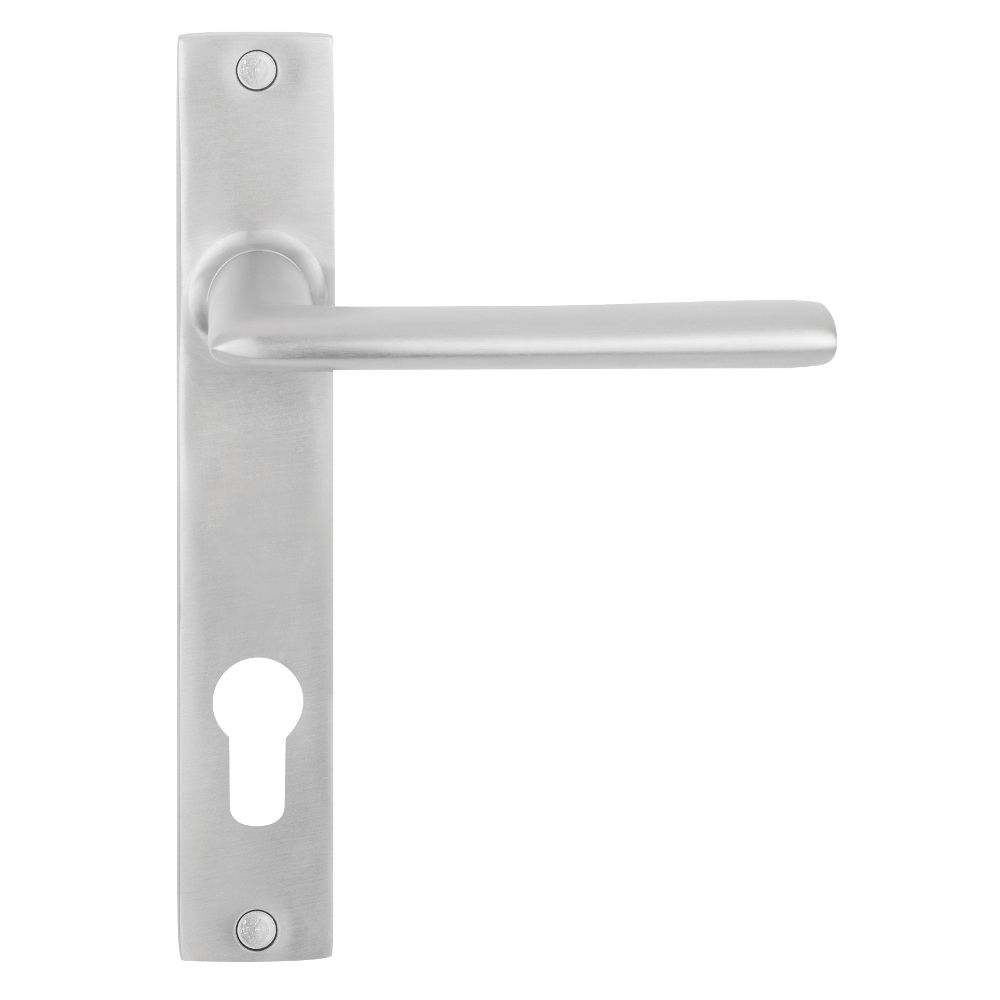 Nordic Euro Door Lever Handle on Long Plate - 85mm Centre